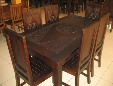 Dining table with glass top-6 seater-J1B