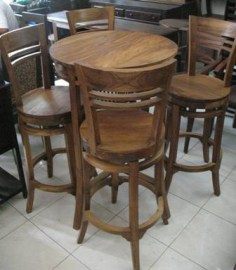 High bar table and rotating bar chairs-K34